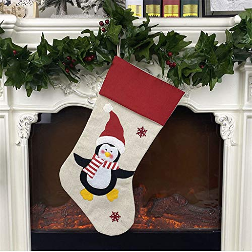 Christmas Soft Linen Embroidery Santa Snowman Stockings,Creative Xmas Hanging Decorations,Tree Pendants,Candy Socks Bag,Party Theme Scene Layout Holiday Ornament for Wall Closet (D4)
