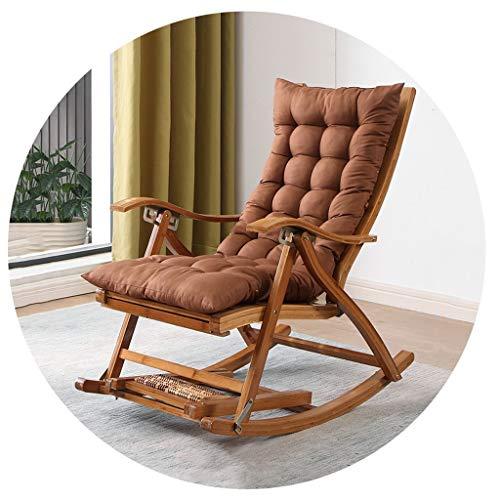 XEWNEG Folding Bambus Schaukelstuhl - Heimgebrauch Old Man Mittagspause Massivholz Lounge Chair, 5 Verstellbare Rücken Stühle, Bewegliches Im Freien Beach Terrace Stuhl
