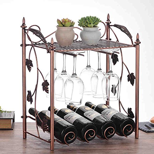 JT Wijnrek Wijnrek/4 Fles Wijnrek, Wijnflessenhouder Gratis Staande Wijnrek, Dikke Staaldraad, Strijkijzer, Bekerhouder