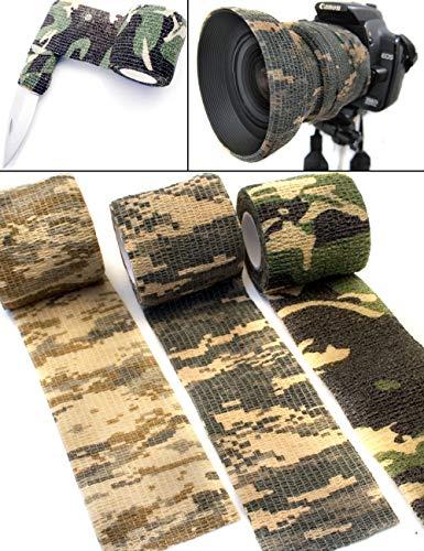 Saxx Lot de 3 Rubans de Camouflage en Tissu imperméable à l'eau Multi-Usage – Appareil Photo, équipement, Chasseur, pêcheur, photographes | 4,5 m