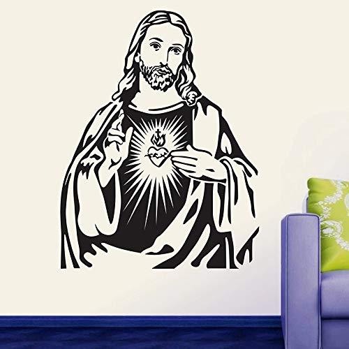 WERWN Pegatinas de Pared con Retrato de corazón de Jesucristo, decoración del Dormitorio del hogar, Vinilo, Sala de Estar, Mural clásico de Jesús