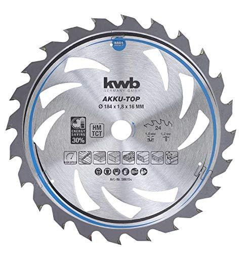 kwb 586154 AKKU-TOP Energy-Saving cirkelzaagblad Easy Cut, Ø 184 x 16 mm dunne snede met speciale wisseltand 24 tanden Z24