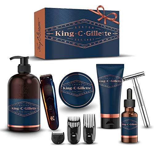 King C. Gillette Kit Completo Per Cura Barba Uomo: Regolabarba + Rasoio di Sicurezza + Detergente, Balsamo e Olio per Barba e Viso + Gel da Rasatura, Regalo