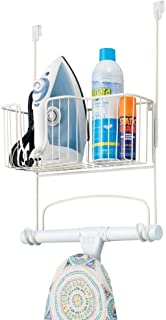 mDesign Metal Over Door Ironing Board Holder with Large Storage Basket - Holds Iron, Board, Spray Bottles, Starch, Fabric ...