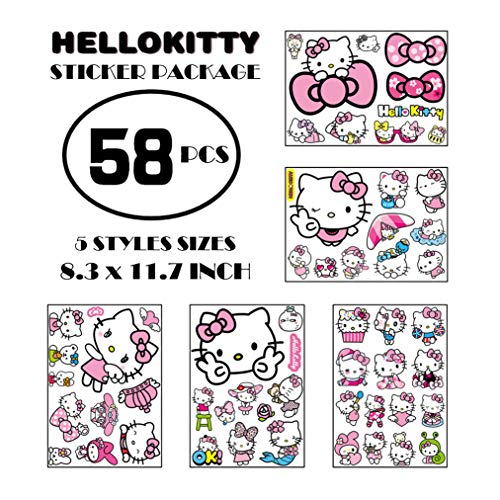 Kawaii Car Stickers Cartoon Hello Kitty Cat Car Decals And Stickers, Strong Self-adhesive Anime Stickers For Cars Scratch PVC Waterproof Stickers Not Fade, 3d Anime Suitcase Stickers Helmet Decals