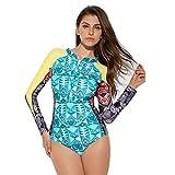 YUHUISTART Surfanzug für Damen Tauchanzug Boho Patchwork Wetsuit Geometrie Neoprenanzug...
