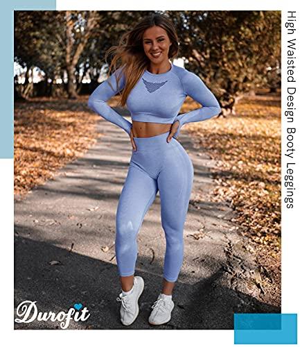 DUROFIT Mallas Push Up Pantalones Deportivos Leggings Mujer Mallas Deportivas Fitness Leggins Polainas de Yoga Training Fitness Estiramiento Azul S