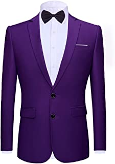 YOUTHUP Mens Slim Fit Blazer Single Breasted 2 Button Classic Business Wedding Suit Jacket and Bowtie