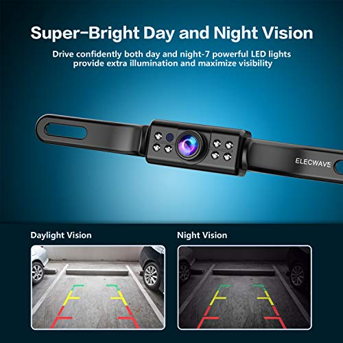 Car Backup Camera, Elecwave Car Rear View Front View Reversing Camera 170 Degree View Angle 7 IR LED Lights Night Vision IP68 Waterproof Universal Backing Camera - Optional Guideline(YES/NO)
