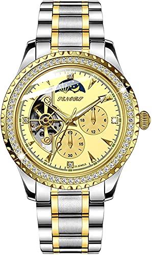 ZFAYFMA Reloj DE Hombres, Reloj DE Lujo AUTOMÁTICO DE Lujo 18K AUTOMÓVIL DE AUTÍCULO DE AUTÍCULO DE AUTÍCULO 50M Silver