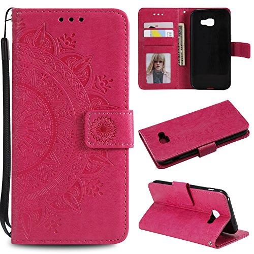 Snow Color Galaxy A3 2017 Hülle, Premium Leder Tasche Flip Wallet Case [Standfunktion] [Kartenfächern] PU-Leder Schutzhülle Brieftasche Handyhülle für Samsung Galaxy A3 2017/A320FL - COHH050132 Rot