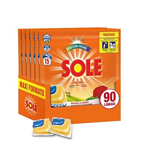 Sole Gelcaps Colori Protetti, Detersivo Lavatrice in Capsule, Pastiglie Lavatrice, Tripla Azione, 90 Lavaggi, 6 Confezioni da 15 Lavaggi