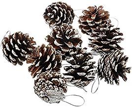 Amosfun Christmas Pine Cone Xmas Tree Ornament Natural Pinecone Holiday Decoration -9 pcs/Set (Silver)