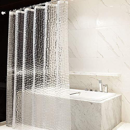 OTraki Duschvorhang 180 x 200cm PEVA Wasserwürfel Duschvorhänge Badvorhänge Fenster 3D Wasserdicht Anti Schimmel Umweltfre&lich Waschbar Shower Curtains Halbtransparent Klar für Badezimmer EINWEG