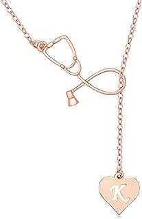 Rose Gold Plated Medicine Stethoscope Heart Initial Alphabet Letter Necklace for Doctor Nurse