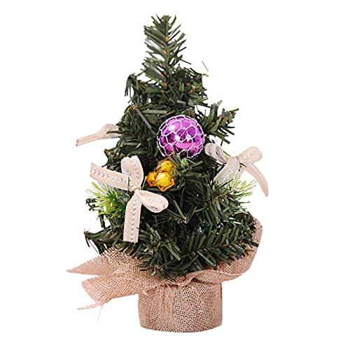 Decoración navideña Nieve blanca cifrada verde árbol mini artificial árbol de navidad decoración de escritorio Año nuevo decoración del hogar decoración de la casa de Navidad 20 cm Adornos navideños