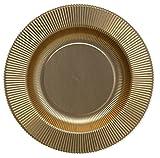 8 PIATTI FONDI cavo Ø25,5cm in carta ORO satinato - addobbo decoro tavola natale, matrimonio, 50°anniversario, nozze d'oro - ideale per festa di natale, capodanno ecc.