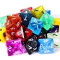 TecUnite 25 Pieces Polyhedral Dice Set with Black Pouch for DND RPG MTG and Other Table Games with Random Multi Colored Assortment by TecUnite