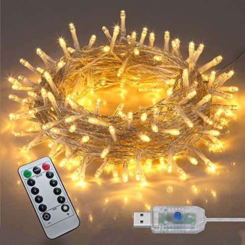 Twinkle Lights,200LED-66FTFairy lights ,Indoor string lights, Home Decorations ,8 Modes String Lights for Bedroom Garden Wedding Party (Warm White)