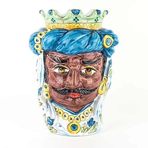 Moro Siciliano Tête de Moro H 32 cm en céramique de caltagirone faite à la main