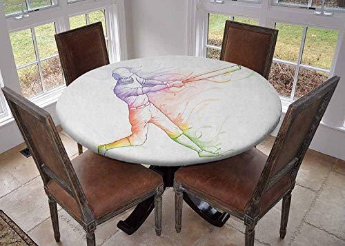 Ronde tafelkleed keuken decoratie, tafelblad met elastische randen, Wild West Themed Design met stier schedel op winkelwagen wiel geschraapt muur Multi kleuren, verjaardag tafelkleed