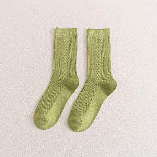 POYANG 3 Pares de Calcetines, Calcetines de Mujer, Pila de Calcetines, Calcetines de Color Caramelo, Calcetines de algodón de Talla única-Pasto Verde