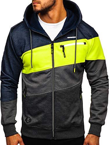 BOLF Homme Sweat-Shirt a Capuche avec Fermeture Eclair Hoodie Sweat Zippe Manches Longues Temps Libre Sport Fitness Outdoor Basic Casual Style 2103D Multicolore M [1A1]