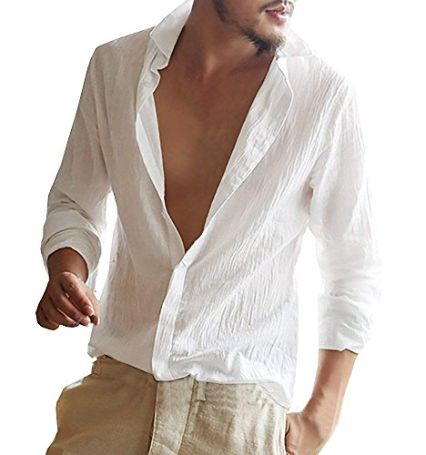 Minetom Homme Chemise en Lin Manches Longues Slim Fit Sexy Col V Shirt Tops Mode Casual Plage Chemise Confortable Respirant Blanc X-Large