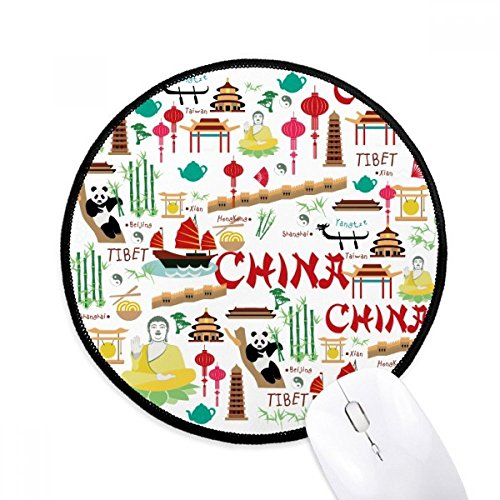 China Bamboe Lantaarn Panda Ronde Antislip Mousepads Zwart Titched Edges Game Kantoor Gift