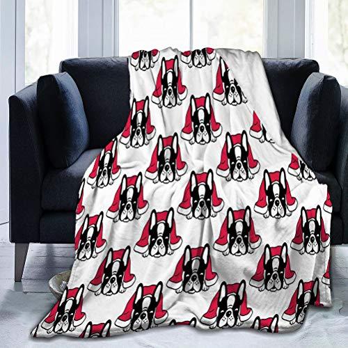 N/A Micro Coperta Morbida per Divano Letto Ufficio 50 'x40' Cane Bulldog Francese Coperta per Dormire Sciarpa Natalizia Cartone Animato Isolato piastrella Ripetizione w Felice