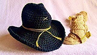 Stetson Bozeman Hat, Army Cavalry and Tanker Boots With Spurs Baby Gift Set Black, Gold, Tan and Brown 2 Piece