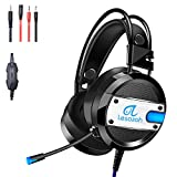 Lesozoh A10 Gaming Headset with Microphone,OVibration Effect, Professional Wired Gaming Bass Over-Ear Headphones with Mic 3.5mm, Noise Cancelling & Volume Control (Black)