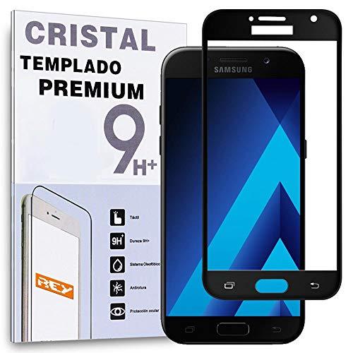 REY Protector de Pantalla Curvo para Samsung Galaxy A5 2017, Negro, Cristal...