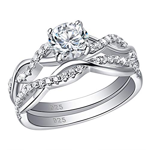 SHELOVES Infinity Engagement Wedding Ring Set White Round Cz for Women 925 Sterling Silver Size 7