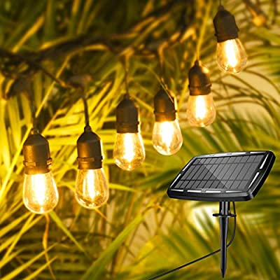 WENFENG 48FT Solar String Lights Outdoor ,Commercial Grade USB&Solar Powered Waterproof Hanging Patio Lights , with 15 Hanging Sockets S14 Shatterproof Vintage LED Edison Bulbs ,Warm White