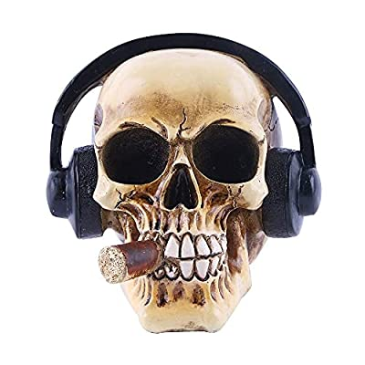 YXF99 Creative Human Skull Ornaments with Headset, Simulated Realistic Resin Personality Skulls Model Decor for Home Bar Science Educational Toys, Create Atmosphere YXF99