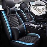 Maidao 5 Cubreasientos de Asientos de Automóvil para Toyota RAV4 Hybrid Comodidad (Reposacabezas y Reposacabezas) Cuero Fundas Asiento Delanteros y Traseros Azul Negro