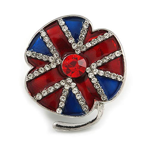 Avalaya Small Red/Blue Enamel Clear Crystal Poppy Brooch in Silver Tone - 30mm Long