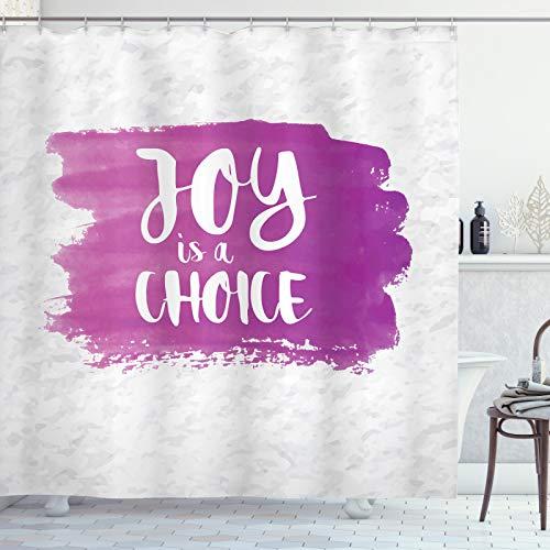 ABAKUHAUS Fuchsie Duschvorhang, Joy ist eine Wahl Worte Kunst, Bakterie Schimmel Resistent inkl. 12 Haken Waschbar Stilvoller Digitaldruck, 175x240 cm, Fuchsia Weiß