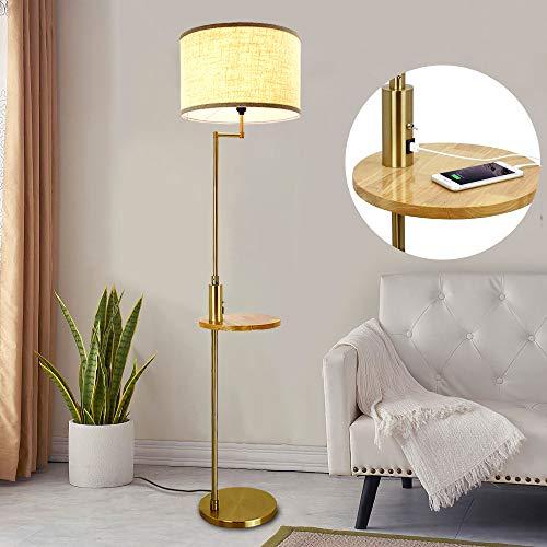Depuley Led Stehleuchte Wohnzimmer mit USB Anschluss & Kippschalter, Modern Stehlampe Gold mit Holz Tisch Warmweiß E27, 720lm, 9W Birne, 110-240V, 3000k für Schlafzimmer Esszimmer Flur Halle Büro
