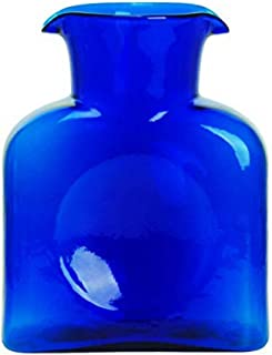 BLENKO Glass Co. 384 Water Bottle in Cobalt Blue - Hand Blown Glass Water Pitcher/Carafe/Vase - Unique Handcrafted Kitchen Decor, 36 oz.