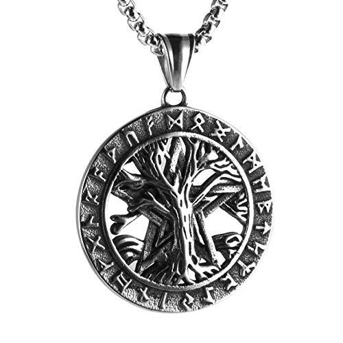 Collar con colgante de amuleto de runas vikingos nórdicos con diseño de árbol de la vida, con colgante de pentagrama
