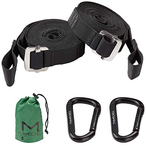 MATADORES Premium Hängematten Befestigung | Die Hängematten Seile mit komplett flexibler Längeneinstellung | an Baum oder Indoor aufhängen | Länge pro Gurt 2,80m | TESTERGEBNIS SEHR GUT