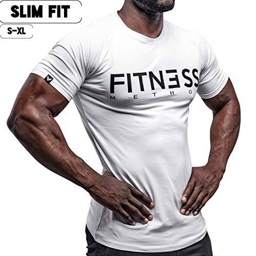 Fitness Method, Sport T-Shirt Herren, Slim-Fit Shirt bequem & hochwertig Männer, Rundhals & Tailliert, Training & Freizeit, Gym & Casual Workout Mann, 95% Baumwolle, 5% Elastan, (Weiß-Schwarz, S)