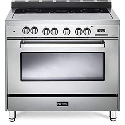 "Verona VEFSEE365SS 36"" Electric Range with 4 cu. ft. European Convection Oven Black Ceramic Glass Cooktop 5 Burners Dual Center Element Chrome Knobs and Handle: Stainless Steel"