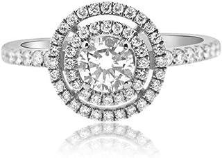 Anillo de compromiso de moissanita de corte redondo, anillo de compromiso de 0,93 quilates, moissanita solitaria, diamante de 14 quilates, doble halo, tamaño G H I J K L M N O P Q R S T (O)