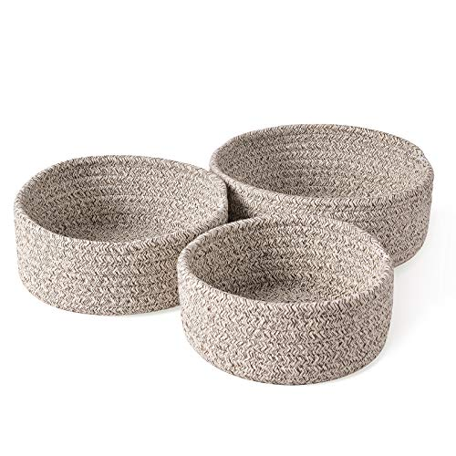 Cestas de almacenamiento tejidas Hivexagon - Cestas de cuerda de algodón, paquete de 3 cestas de almacenamiento decorativas tejidas apilables para organizar y almacenar, bandeja de tela, cuenco, plato