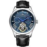 Relojes De Pulsera,Reloj De Hombre con Reloj Mecánico Automático Tourbillon De Fase Lunar, Q