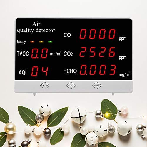 TZUTOGETHER Luftqualität Monitor Messgerät Air Quality Detector, Luftqualitätsmonitor, CO2 messgerät, Kohlendioxid Tester für Innenräume CO2 HCHO AQI TVOC, Gasdetektor für das Home Office