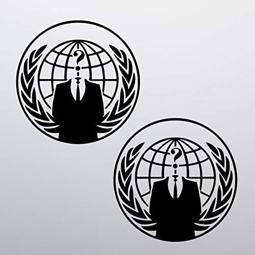 2X Anonieme stickers, raam, geschenk, muur, deur, voorruit, fiets, auto, hacker, groep, hacken, masker, logo, piraat, globe citaat muursticker schoonheid muur sticker als een geschenk aan uw vriend kinderen liefhebber